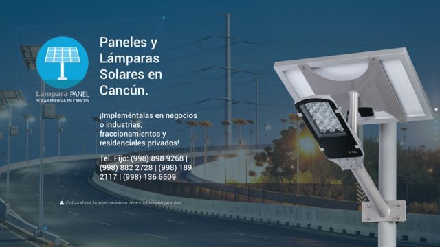 Lampara panel solar energia en Cancun